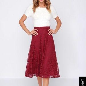 Lulu's Burgundy Highwaisted skirt